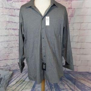 Calvin klein pin stripe gray dress shirt big 18.5
